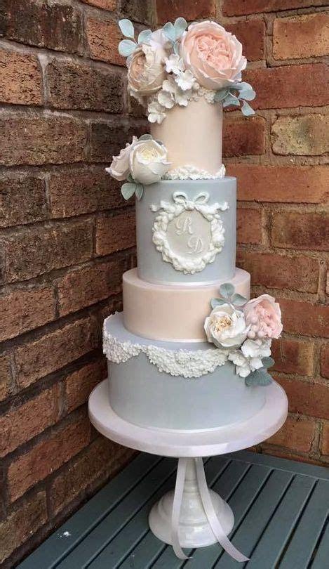 Four Tier Pastel Blue And Blush Wedding Cake #2713513