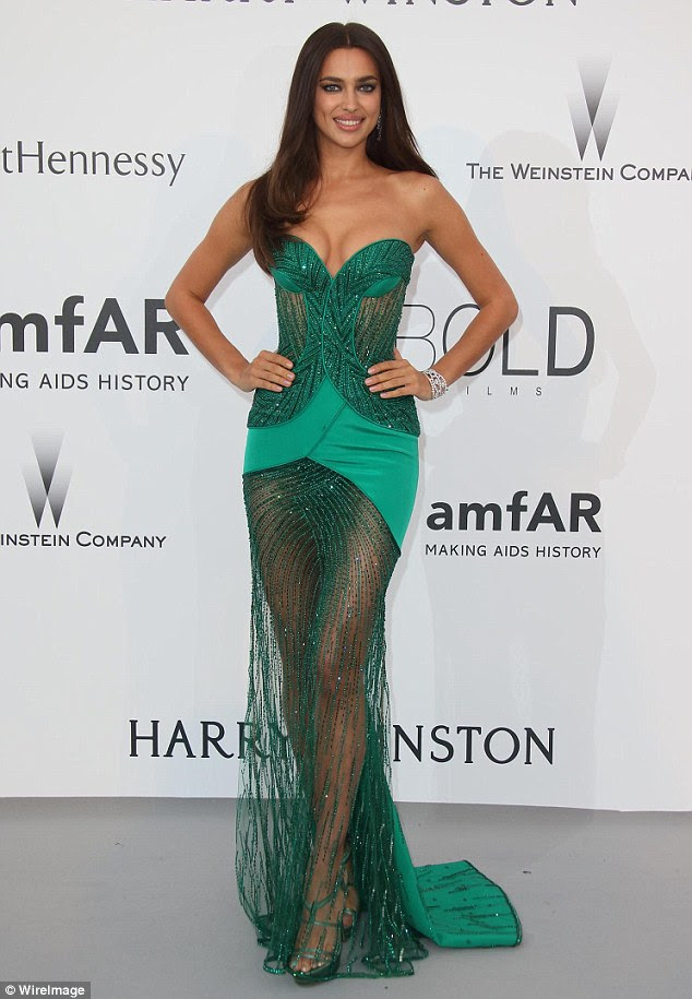 Making fans green with envy! Irina Shayk drew heaps of attention thanks to her bold emerald ensemble at amfAR's 22nd Cinema Against AIDS Gala on Thursday evening