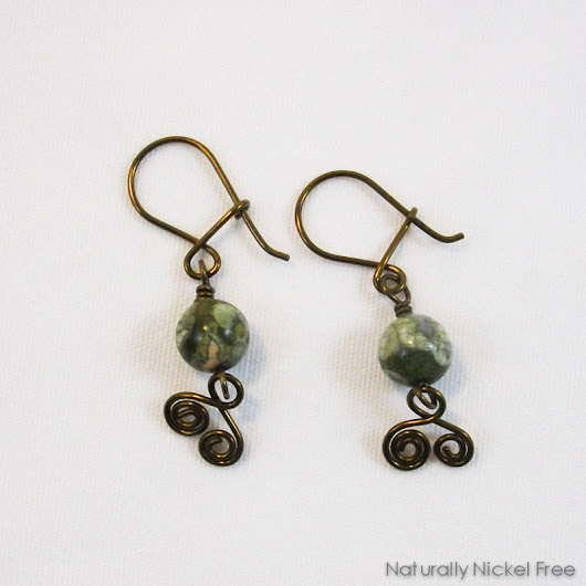 Green Jasper Spiral Dangles with Niobium Earwires