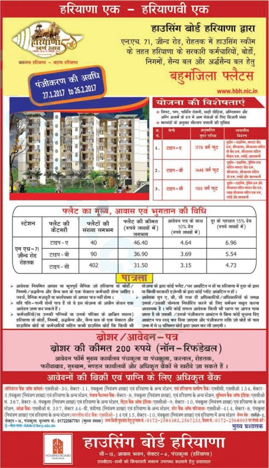 HBH Housing Scheme 2017 in Rohtak for Govt Employees, Board, Military & Para Military