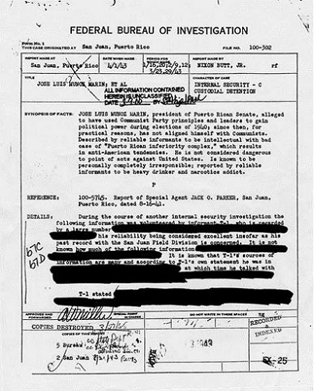 Documentos desclasificados por el FBI sobre el Gonbernador, Luis Muñoz Marín.