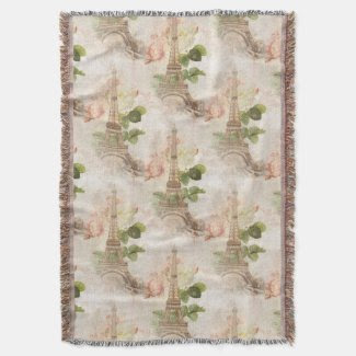 Paris Vintage Pink Roses Throw Blanket