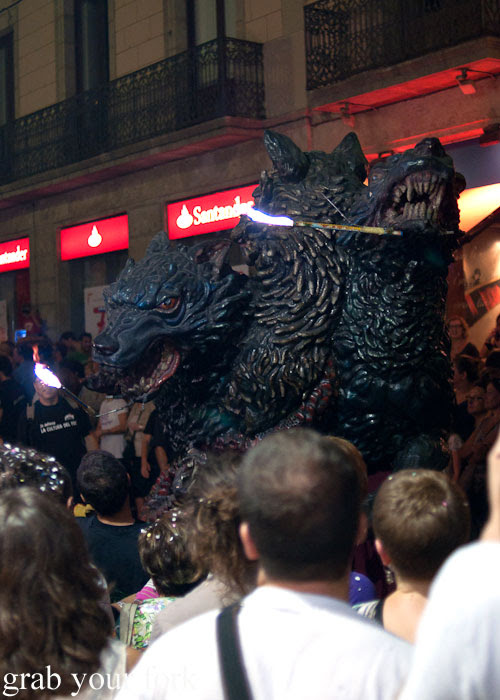 Three-headed wolf at La Merce 2013 Parade of Fire Breathing Dragons