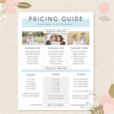 25  best ideas about Photography price list on Pinterest