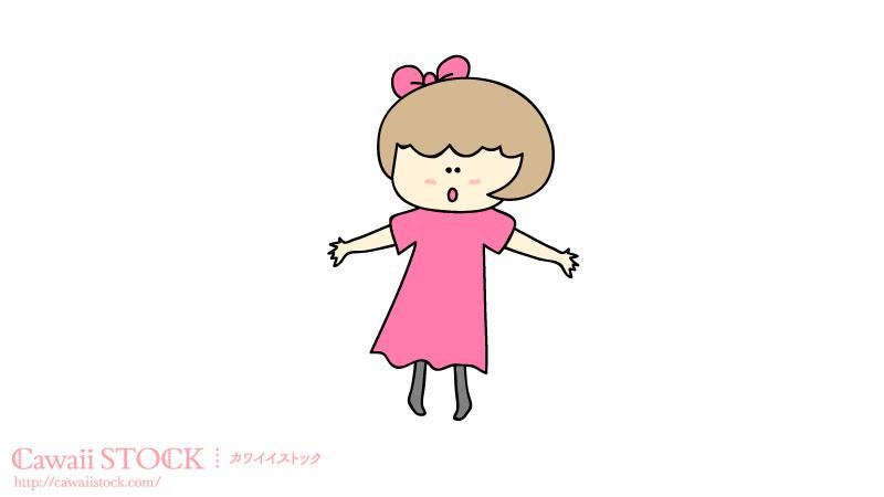 ゆるかわな女の子のイラスト素材 02 カワイイストックフリー素材配布