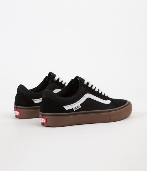 Vans Old Skool Pro Shoes Black White Medium Gum Flatspot