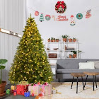 Goplus 6ft Pre-Lit Artificial PVC Christmas Tree Spruce Hinged w/560 LED Lights & Stand