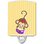 Carolines Treasures BB7015CNL Monkey Reading Ceramic Night Light
