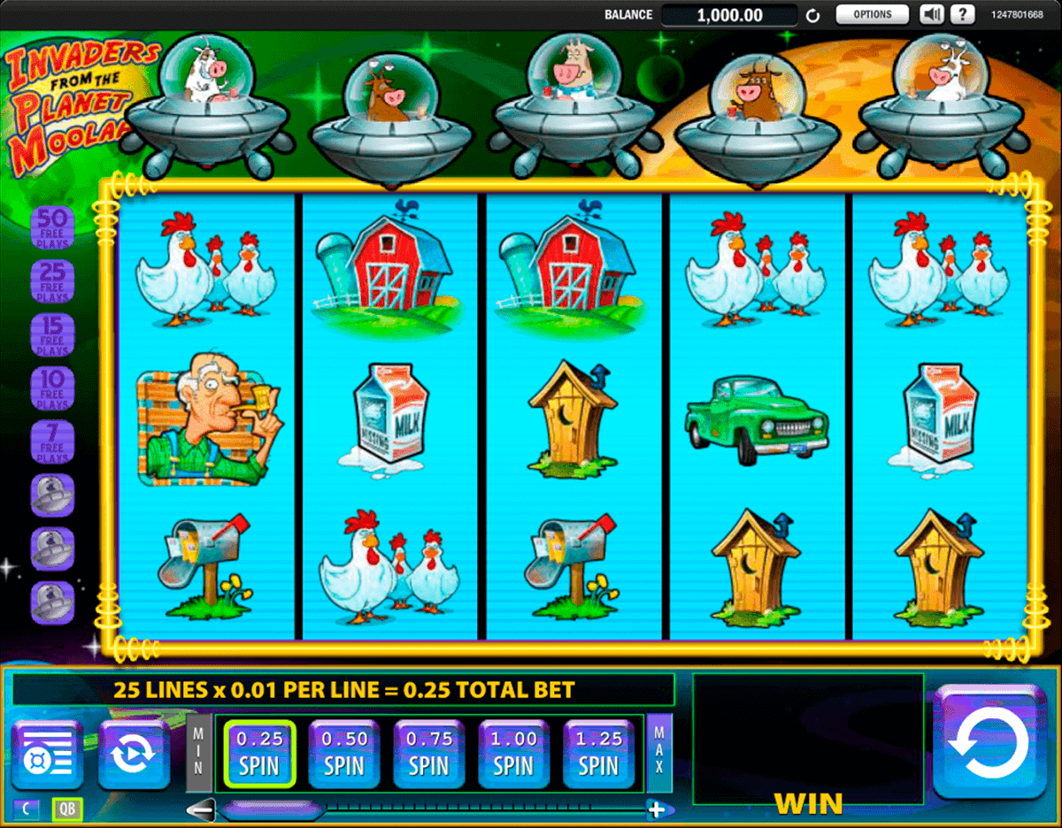 Invaders from Planet Moolah game is slot provided by WMS.The game has 5 reels and 25 ways of winning.It also has a return to player of 96% and a jackpot of x.If you play, you will have access to the wild and free spins feature in order to win more money and enjoy yourself.