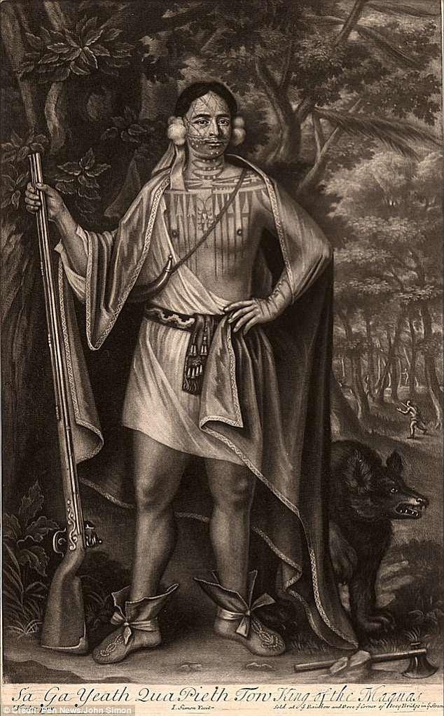 rabado representando al jefe Mohawk Sa Ga Yeath Qua Pieth Ton, con abundantes tatuajes sobre su cuerpo.