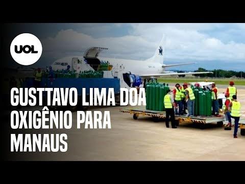 Gusttavo Lima mostra avião com 150 cilindros de oxigênio para Manaus