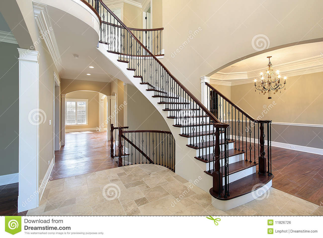 Foyer With Spiral Staircase Royalty Free Stock Image - Image: 11826726