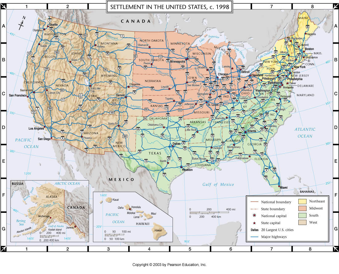 Driving Map Of Usa With Distances
