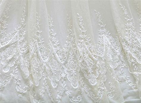 White Bridal Lace Fabric By The Yard Wedding Dress by