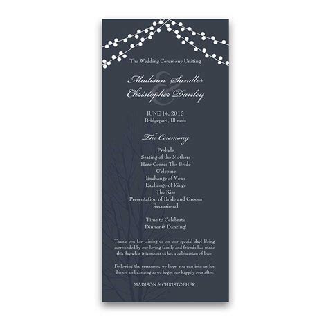 Wedding Ceremony Programs Navy Blue Rustic Design