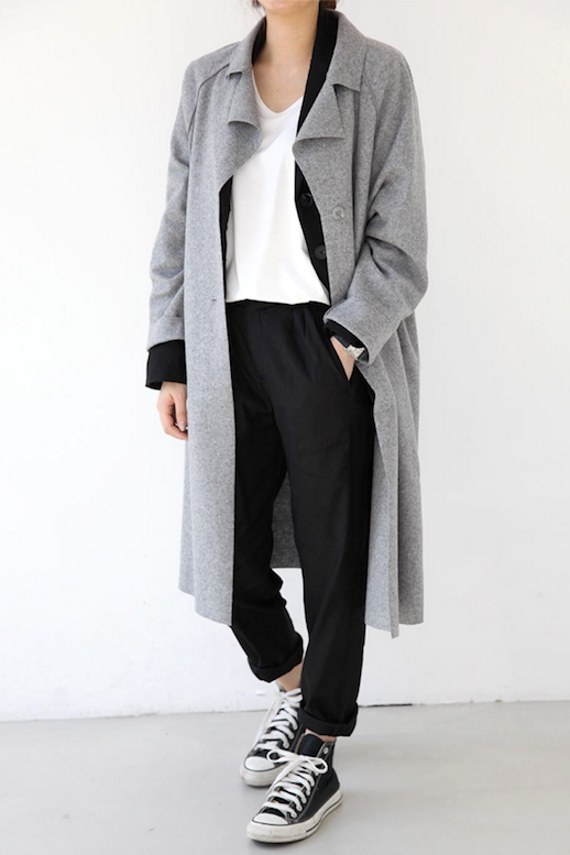 Le Fashion Blog Fall Style Layers Grey Trench Style Coat Black Cardigan White Tee Shirt Slouchy Pants Converse High Top Sneakers Via Death By Elocution