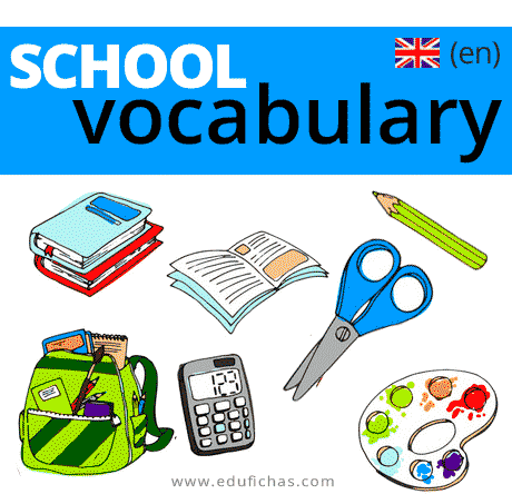 School vocabulary. Vocabulario escolar en inglés para niños.