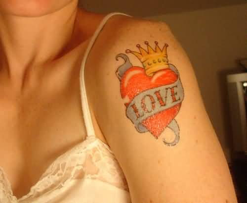 Women Upper Sleeve Cover Up With Lovely Red Heart And Amazing Love
