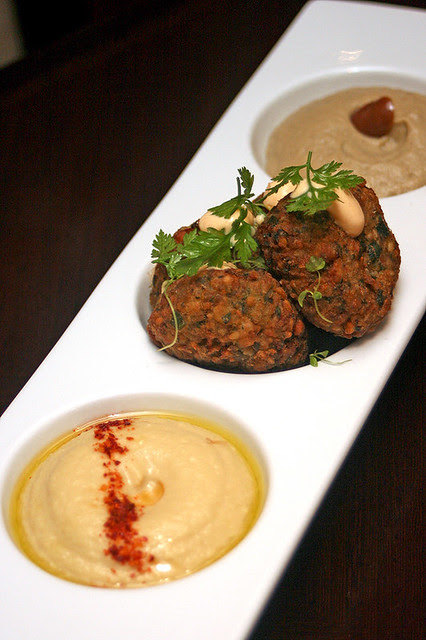 Chickpea and Eggplant - Herb Falafel, Fresh Hummus, Babaganoush