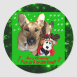 Merry Christmas German Shepherd Round Sticker