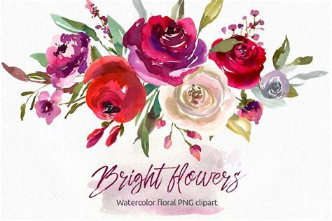 Bright watercolor flowers roses 31 PNG separate elements