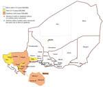 Thumbnail of Distribution of Neisseria meningitidis isolates by district in Niger during the 2015 epidemic. Dogon-doutchi: 23 (NmC 15; NmW 8); Filingue: 2 (NmC 2); Gaya 2 (NmC 1; NmW 1); Guidan-Roumji: 1 (NmW 1); Illela: 1 (NmC 1); Kollo: 10 (NmC 5; NmW 5); Madaoua: 1 (NmW 1); Madarounfa: 1 (NmW 1); Niamey: 39 (NmC 37; NmW 2); Ouallam: 3 (NmC 2; NmW 1); Say: 3 (NmC 2; NmW 1); Téra: 11 (NmC 11).