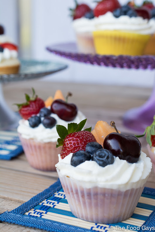 Fruit Salad Cupcakes with Sour Cream Frosting