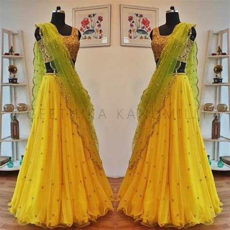 Stunning sunshine yellow color lehenga and crop top with