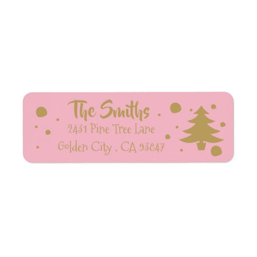 Elegant pink & gold Christmas tree Label