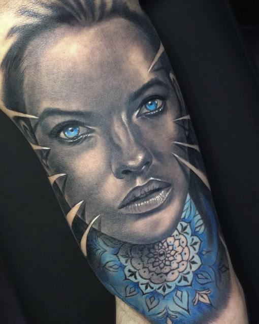 Blue Eyed Girl Face Tattoo Best Tattoo Ideas Gallery