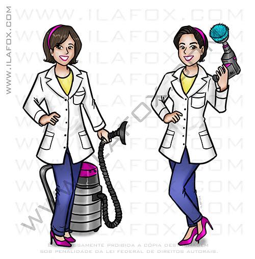 caricatura personalizada, caricatura limpeza, limpeza domiciliar, limpeza sofá, ila fox