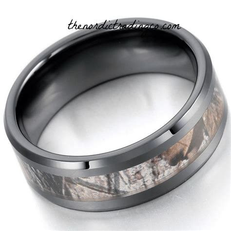 Black Camo Ceramic Men's or Women's Ring Wedding Bands
