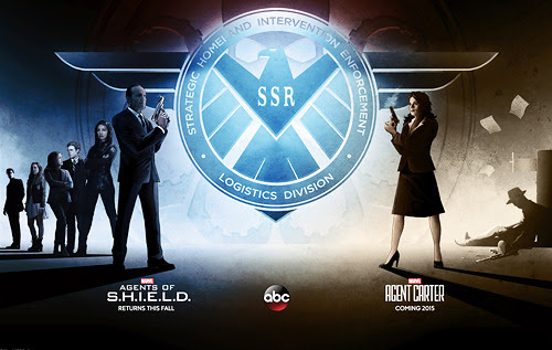 clarkgreggreporter:<br /><br />Via TV Guide: A first look at the all-new San Diego Comic Con exclusive poster (designed by Matt Ferguson) featuring both Agents of S.H.I.E.L.D. and Agent Carter.<br />(Pictured: Brett Dalton, Chloe Bennet, Elizabeth Henstridge, Iain de Caestecker, Ming-Na Wen, Clark Gregg, Hayley Atwell)<br />