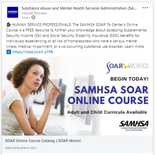 SOAR LinkedIn Post about the SAMHSA SOAR Online Course