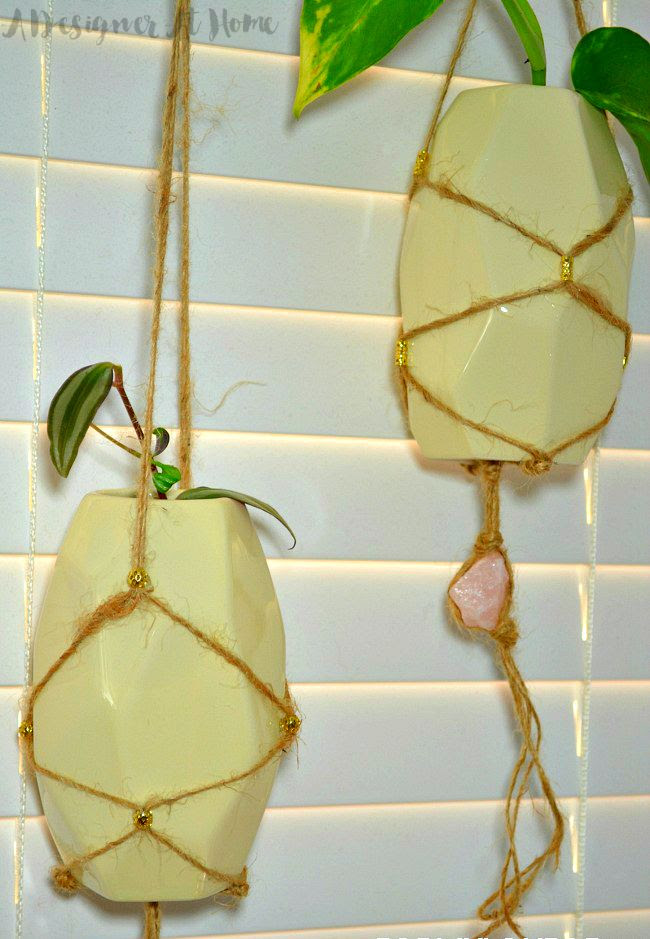 Boho Macrame Hanging Vases with Braided quartz tail