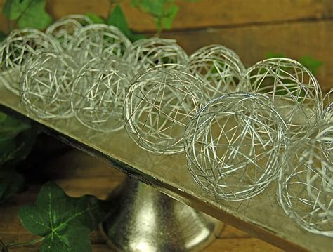 12 Silver Wire Decorative Balls 2.5in (Set of 12)