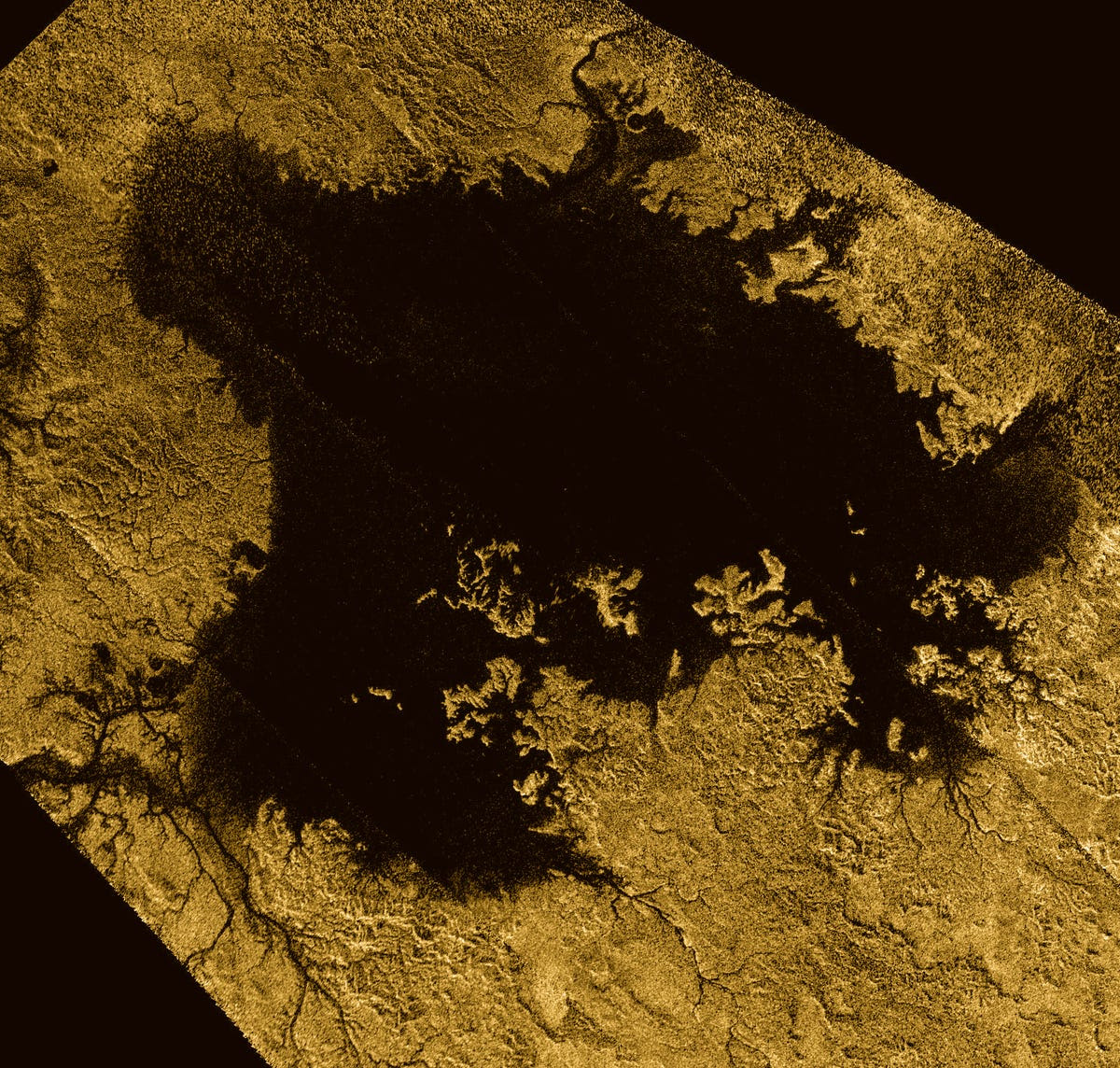 Ligeia Mare is Titan's largest lake. It's full of hydrocarbons like ethane and methane.