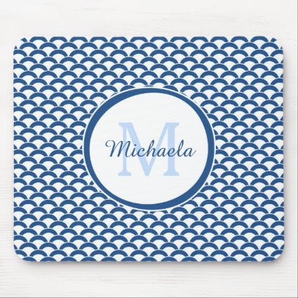 Modern Blue and White Scallops Monogram and Name Mouse Pad
