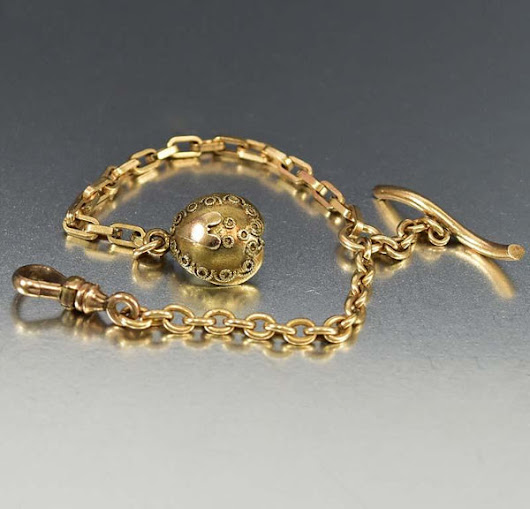 Heart Fob Charm Gold Filled Watch Chain Bracelet