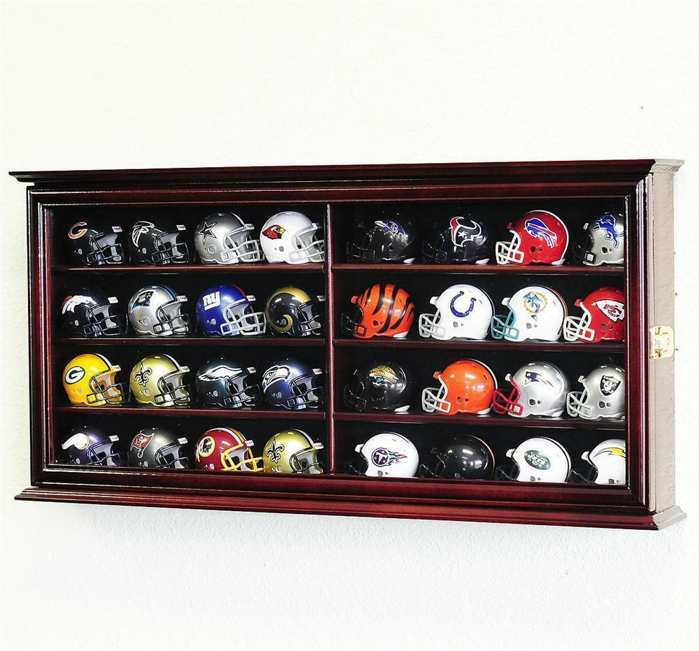 32 Pocket Pro NFL Mini Helmet Display Case Wall Cabinet 2 SIDES  eBay