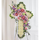 Peace & Prayers Standing Cross- Pastel - Flower Arrangements & Gifts for Funerals - Flower Delivery by 1-800 Flowers