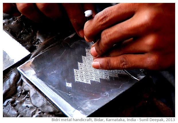 Bidri handicraft artisan, Bidar, Karnataka, India - images by Sunil Deepak