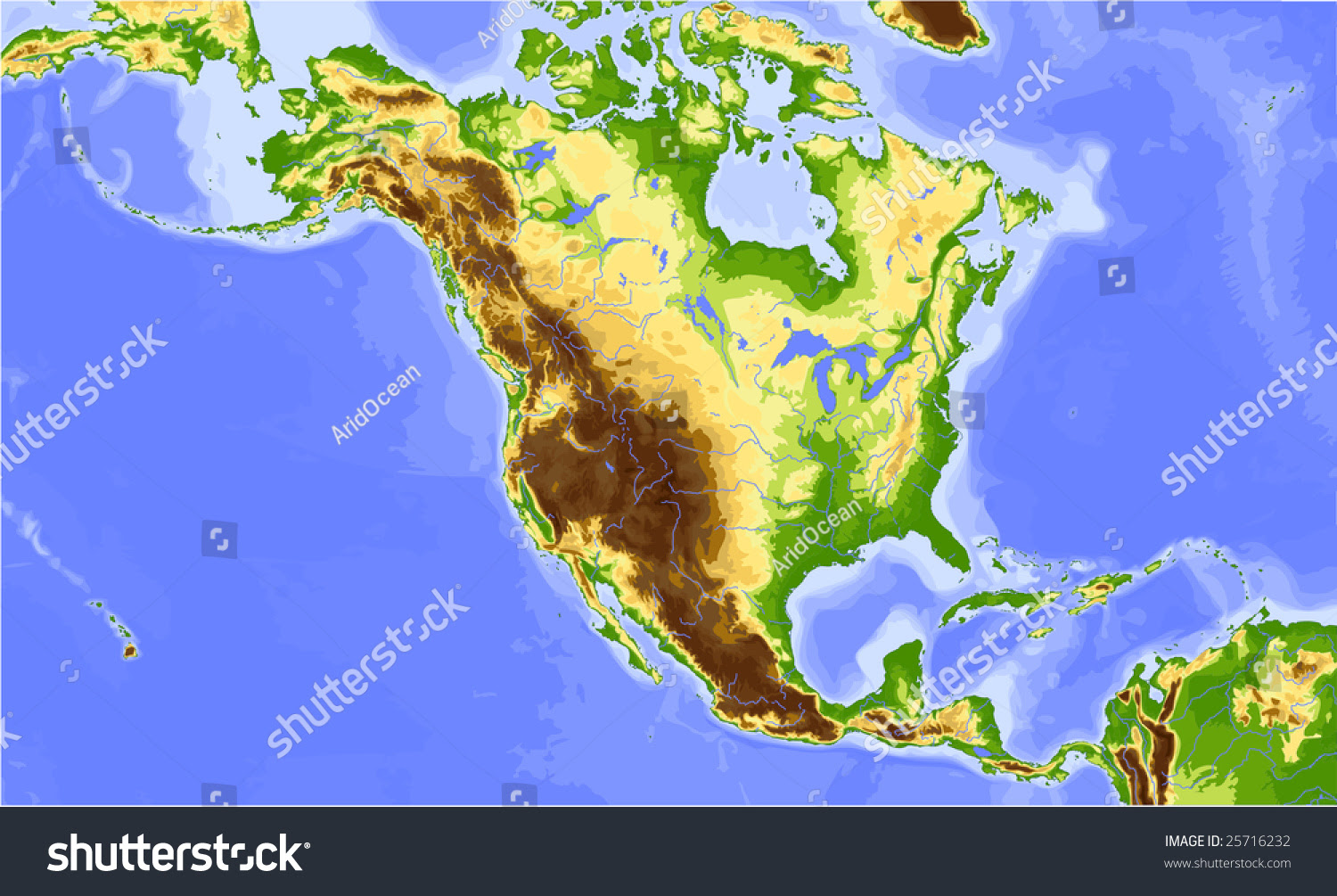 North America Central America Physical Vector Stock Vector ...