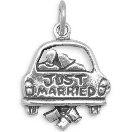 Wedding Just Married Charm Sterling Silver, Made in The USA