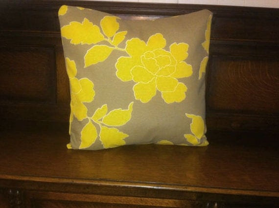 Dwell StudioYellow Peonies and gray/taupe pillow by LinnysPillows
