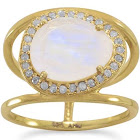 Rainbow Moonstone and Gray Diamond Ring Gold-Plated Sterling Silver