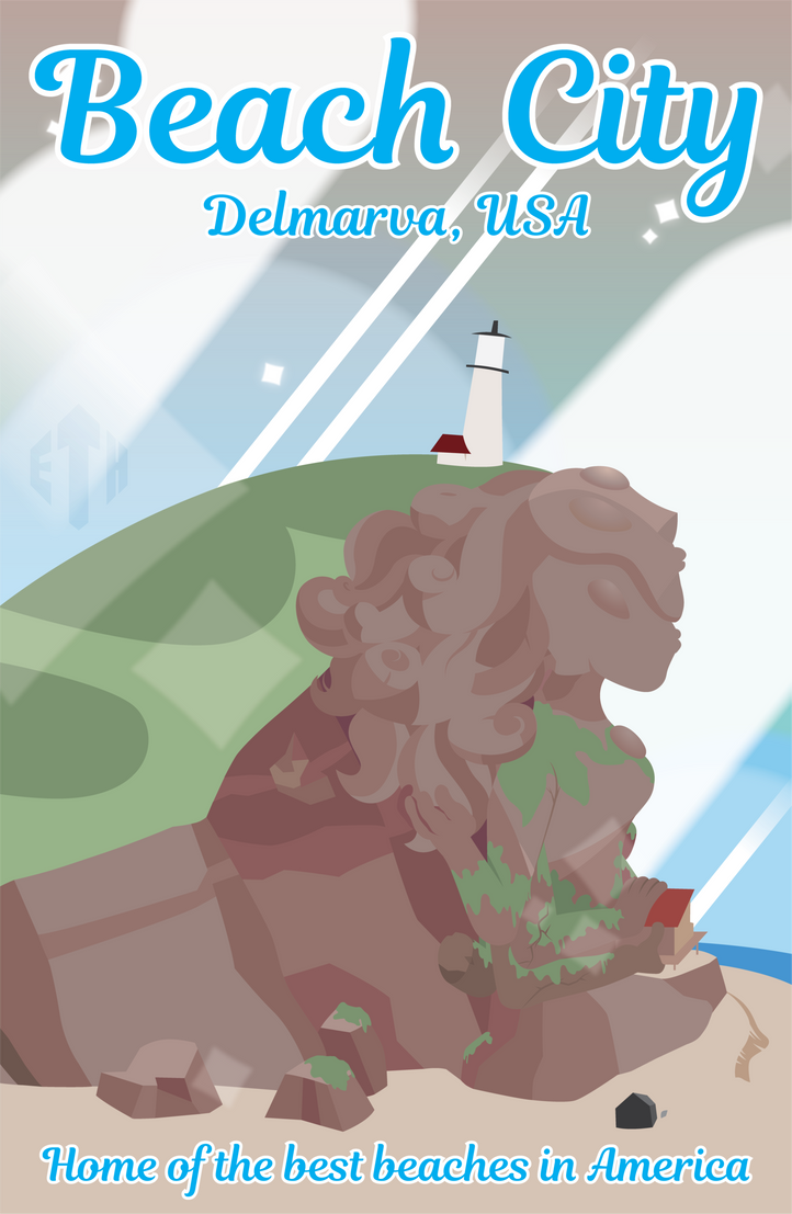 For a school project. :3 We had to create a travel poster to present to class, and of course I couldn't pass the opportunity up to do Beach City of all things ^w^ So here is my piece, ready to go f...