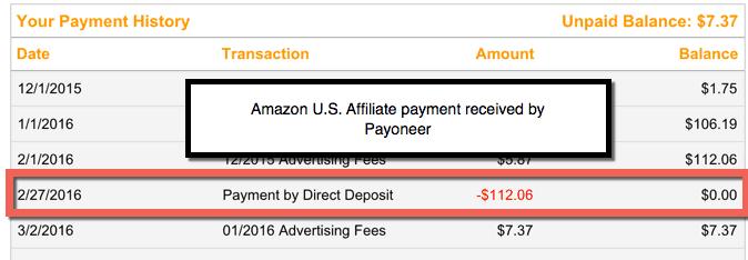 Receiving Amazon US affiliate commission
