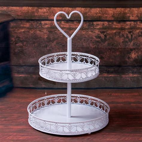 Cheap 2 tier metal white cake stand   vigorousfurniware.com