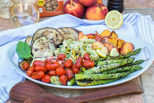 Grilled Peach and Vegetable Pesto Pasta (Summer Grilling Series)